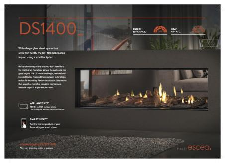 Escea DS1650 Double Sided Gas Fireplace, Heater, Glen Dimplex