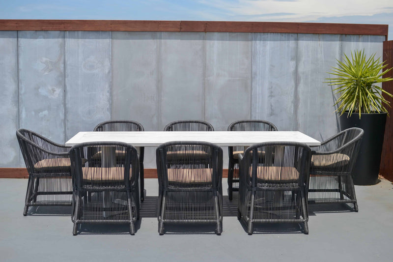 Tucker Karma 9pc Dining Setting - Dalton Table Antique White, Furniture, Tucker from the original BBQ Factory