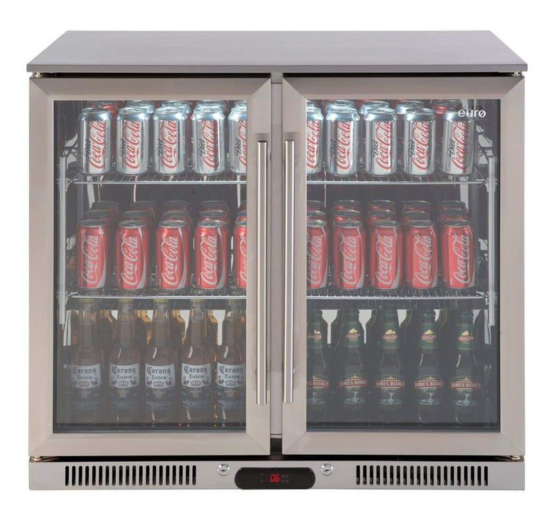 Euro Stainless Double Doors Beverage Cooler, Fridges & Coolers, Euroappliance