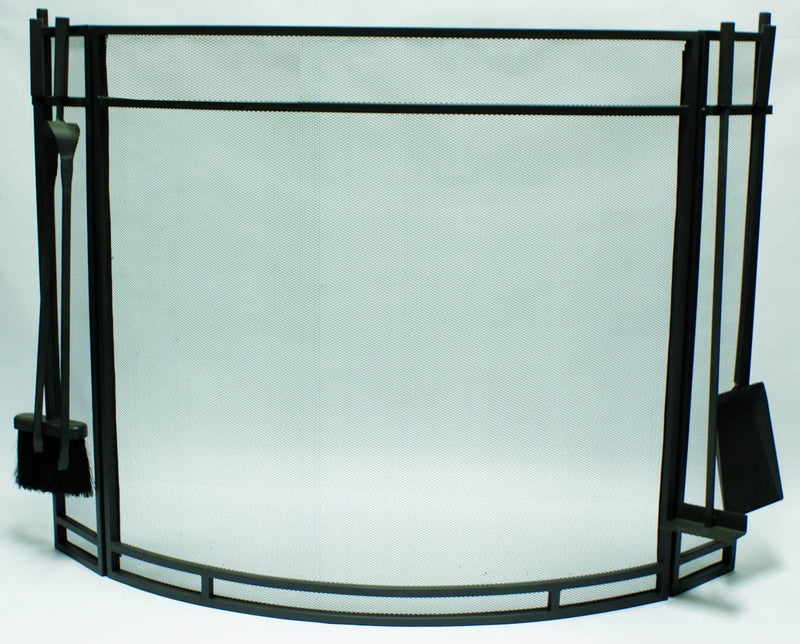 FireUp Curved Fire Screen with Fire Tools, Heater Accessories, S&D Berg