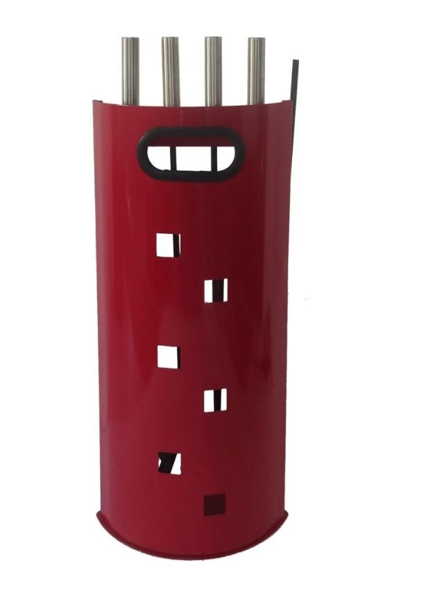 FireUp Fire Tools - Red Powder Coated 4 Piece Set, Heater Accessories, S&D Berg