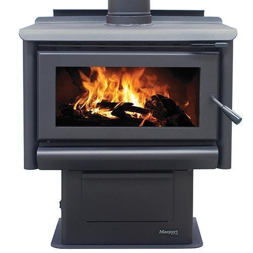 Masport Redwood Wood Fire with integrated ashpan, Heater, Glen Dimplex