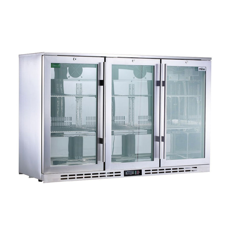 Rhino Stainless Steel 3 Door Heated Glass Bar Fridge, , Rhino