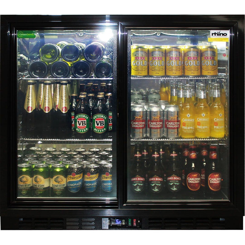 Rhino Black Glass Double Sliding Door Bar fridge, Fridges & Coolers, Rhino