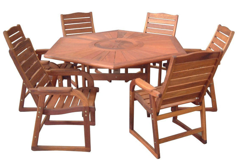 Kwila 7 Piece Hexagonal Dining Setting, Furniture, Swifts