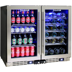 Schmick Under Bench Dual Zone Beer And Wine Bar Fridge - JC95B-Combo