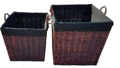 FireUp Set of 2 Dark Tan Wicker Baskets (Medium & Large), Heater Accessories, S&D Berg