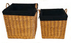 FireUp Set of 2 Natural Honey Wicker Baskets (Large & X-Large), Heater Accessories, S&D Berg