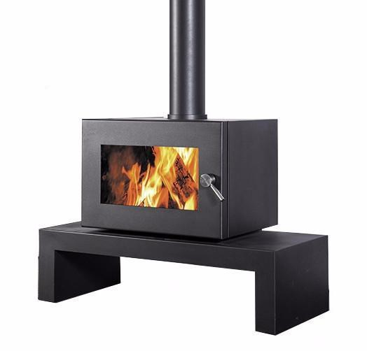 Blaze 905 Wood Fire with Coffee Table Base, Heater, Pecan Engineering