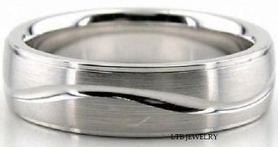 14K WHITE GOLD MENS WEDDING BAND RING 6MM