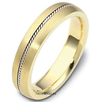 10K GOLD TWO TONE MENS WEDDING BAND RING   5MM