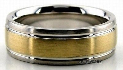MENS 18K TWO TONE GOLD WEDDING BAND RING 7MM