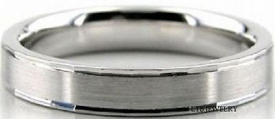 MENS 10K WHITE GOLD DOME WEDDING BAND RING  4MM