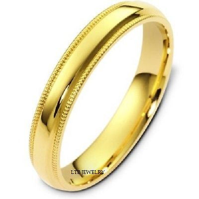 10K YELLOW GOLD MENS WEDDING BAND RING MILGRAIN 4MM