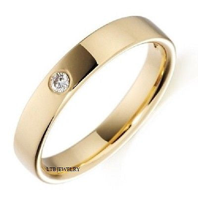 MENS 18K YELLOW GOLD  DIAMOND WEDDING BAND RING  4MM