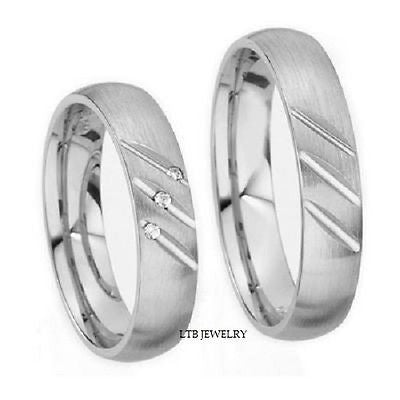 10K WHITE GOLD MATCHING HIS & HERS WEDDING BANDS RINGS MENS WOMENS SET
