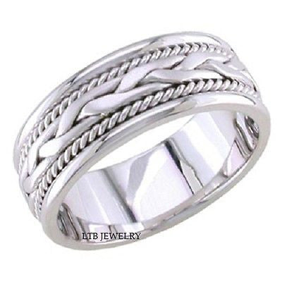 10K WHITE GOLD MENS WEDDING BAND RING BRAIDED 8MM