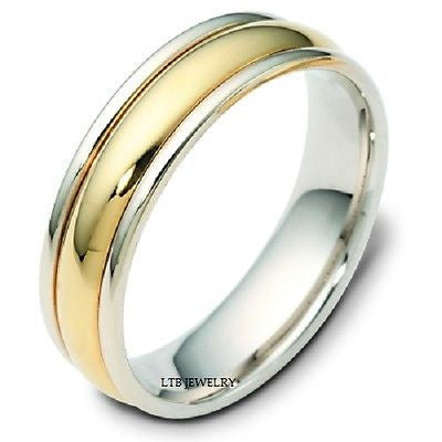 18K TWO TONE GOLD MENS MANS WEDDING BAND RING