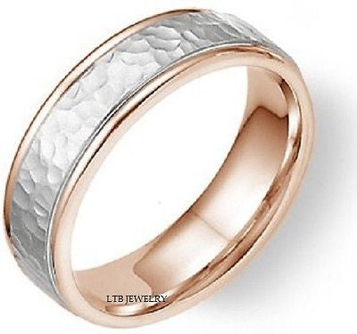 MENS 18K WHITE AND ROSE GOLD WEDDING BAND RING  5MM