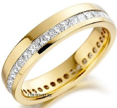 18K YELLOW GOLD MENS DIAMOND RING WEDDING BAND