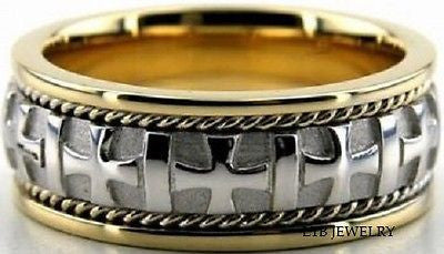 10K TWO TONE GOLD MENS WEDDING BAND RING 8MM