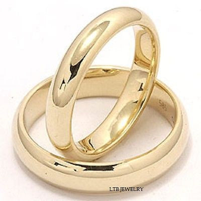 10K YELLOW GOLD MATCHING HIS & HERS WEDDING BANDS RINGS MENS WOMENS SET