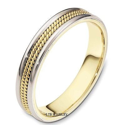 MENS 14K TWO TONE GOLD WEDDING BAND RING