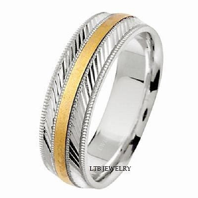 MENS 14K TWO TONE GOLD WEDDING BAND RING ENGRAVED 7MM