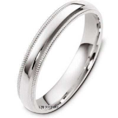 18K WHITE GOLD MENS WEDDING BAND RING MILGRAIN 4MM