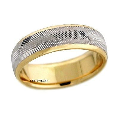 10K TWO TONE GOLD MENS  WEDDING BAND RING  6.5MM