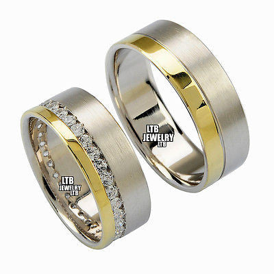 18K TWO TONE GOLD MATCHING HIS & HERS WEDDING BANDS DIAMOND RING MENS WOMENS SET