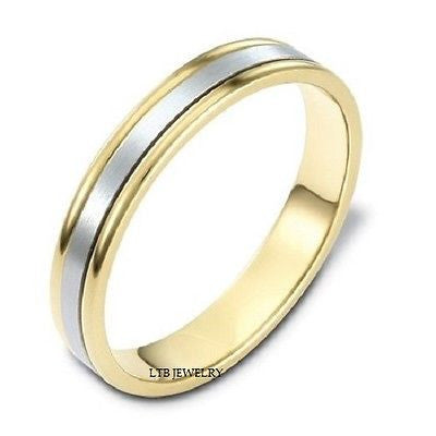 MENS 10K TWO TONE GOLD WEDDING BAND RING   4MM
