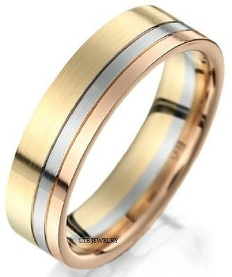 6MM 18K THREE TONE GOLD  WEDDING BAND RING  MENS