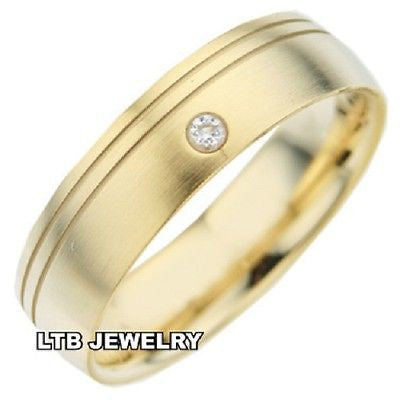 MENS 14K YELLOW GOLD  DIAMOND WEDDING BAND RING