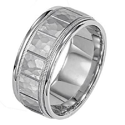 14K WHITE GOLD MENS WEDDING BAND RING HAMMERED  8MM