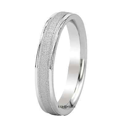 MENS 18K WHITE GOLD WEDDING BAND RING 4MM