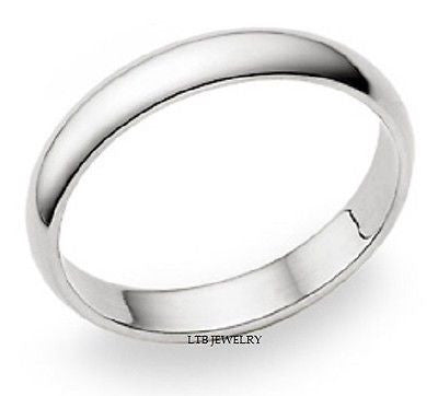 18K WHITE GOLD MENS WEDDING BAND RING  4MM