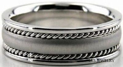 18K WHITE GOLD MENS  WEDDING BAND RING BRAIDED 8MM