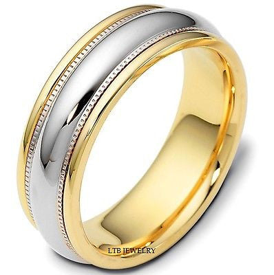 18K TWO TONE GOLD MENS MANS WEDDING BAND RING 7MM