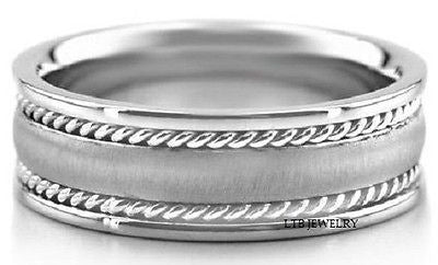 14K WHITE GOLD MENS WEDDING BAND RING BRAIDED 8MM