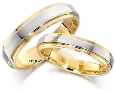 18K TWO TONE GOLD MATCHING HIS & HERS WEDDING BANDS  RING MENS WOMENS SET