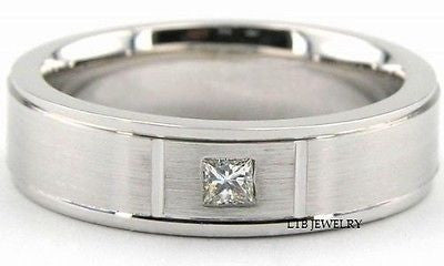 MENS 18K WHITE GOLD WEDDING BAND DIAMOND RING 6MM