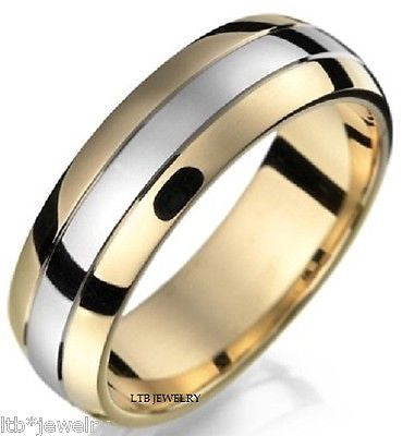 14K  TWO TONE GOLD  MENS WEDDING BAND RING 7MM