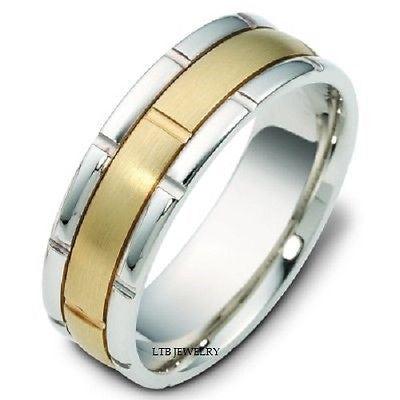 950 PLATINUM & 18K GOLD MENS WEDDING BAND RING 7MM