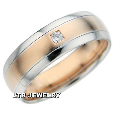 MENS 18K TWO TONE GOLD  DIAMOND WEDDING BAND RING  6MM