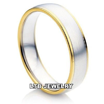 TWO TONE GOLD 14K MENS WEDDING BAND RING  6MM