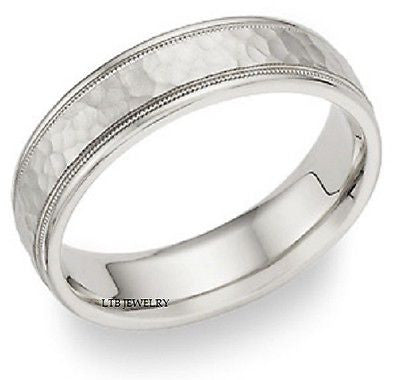 14K WHITE GOLD MENS WEDDING BAND RING MILGRAIN 6MM