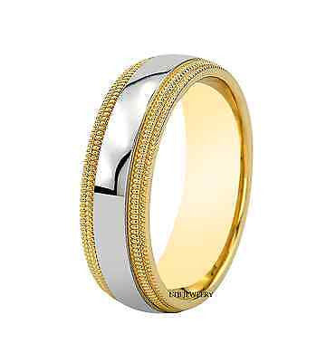 MENS 14K TWO TONE GOLD WEDDING BAND RING 6.5MM