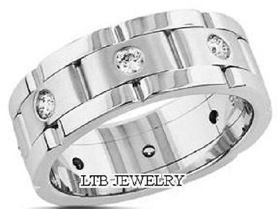 14K WHITE GOLD MENS DIAMOND WEDDING BAND RING  8MM