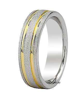 MENS 14K TWO TONE GOLD WEDDING BAND RING  6MM